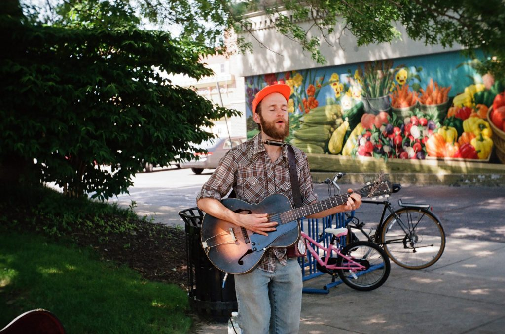 A day at the Farmer's Market with live music.