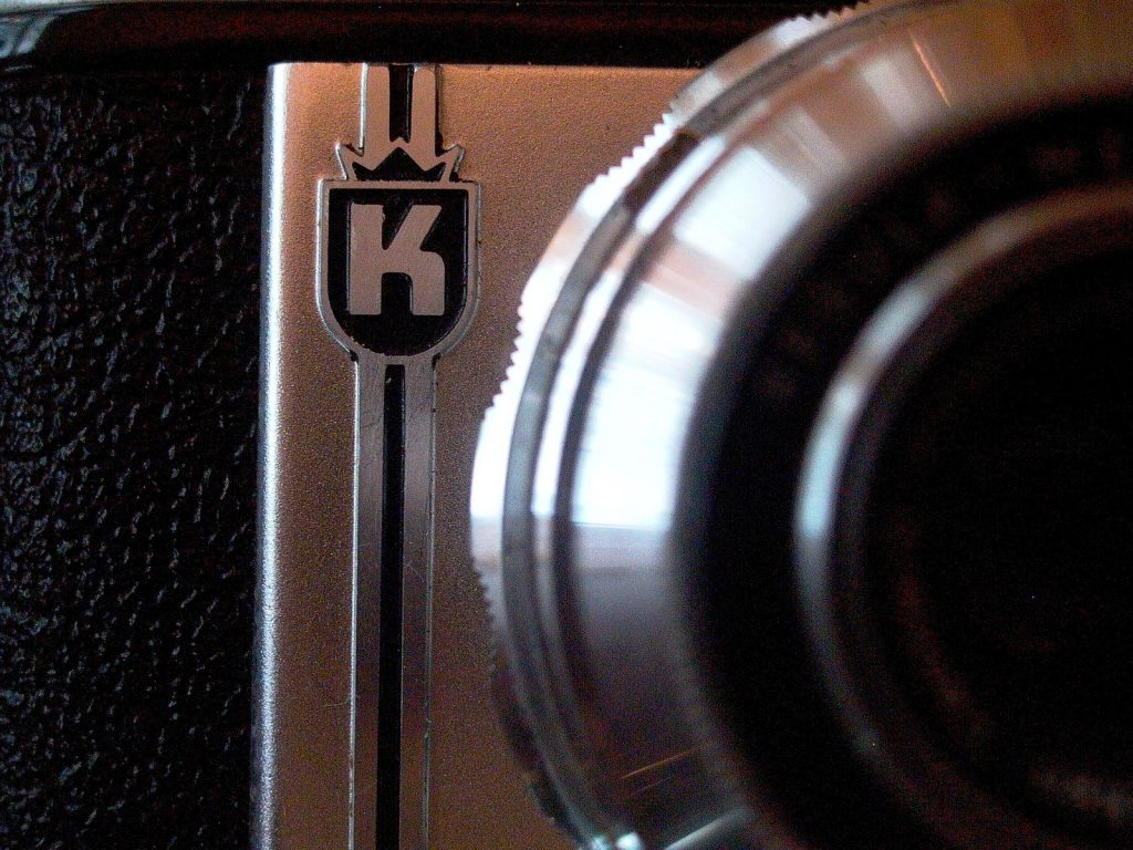 close up of a camera body showing the King logo