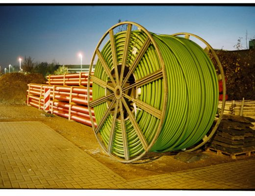 cable drum and sewage pipes