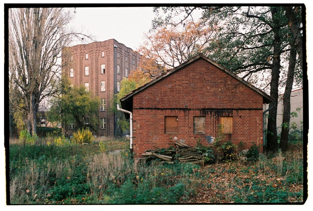 two old brick buildings shot on Fuji Superia 400 film