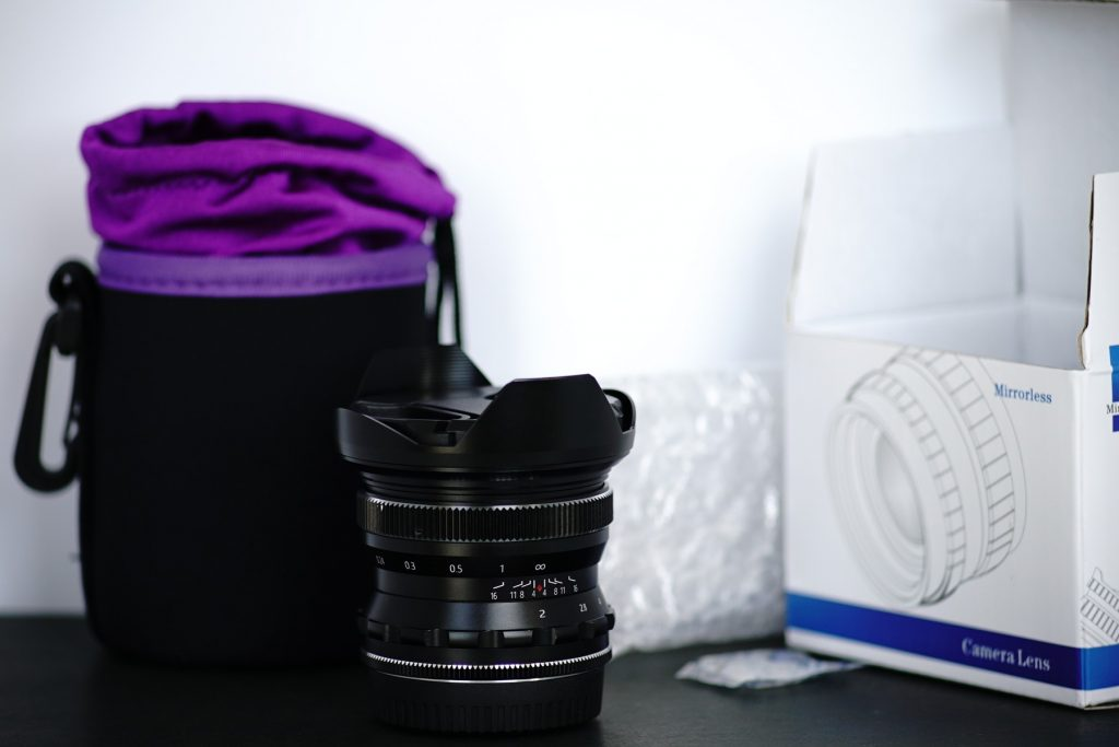 Pergear 12mm f/2 box and bag