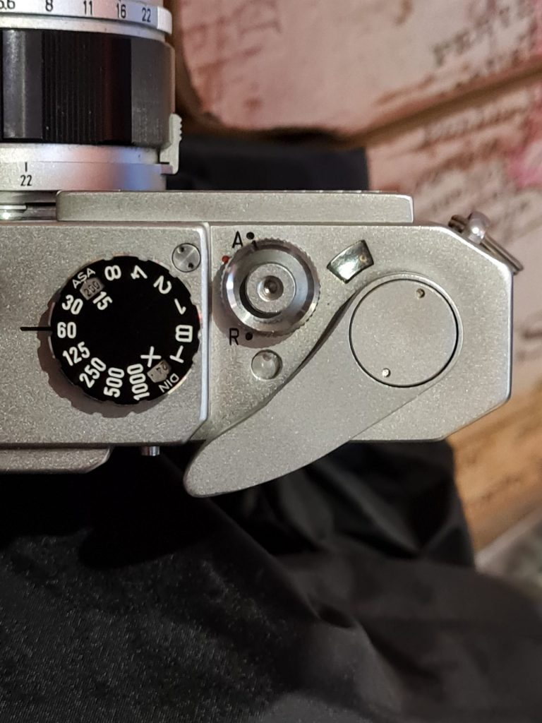 Canon 7 Shutter speed and rewind mechanism detail