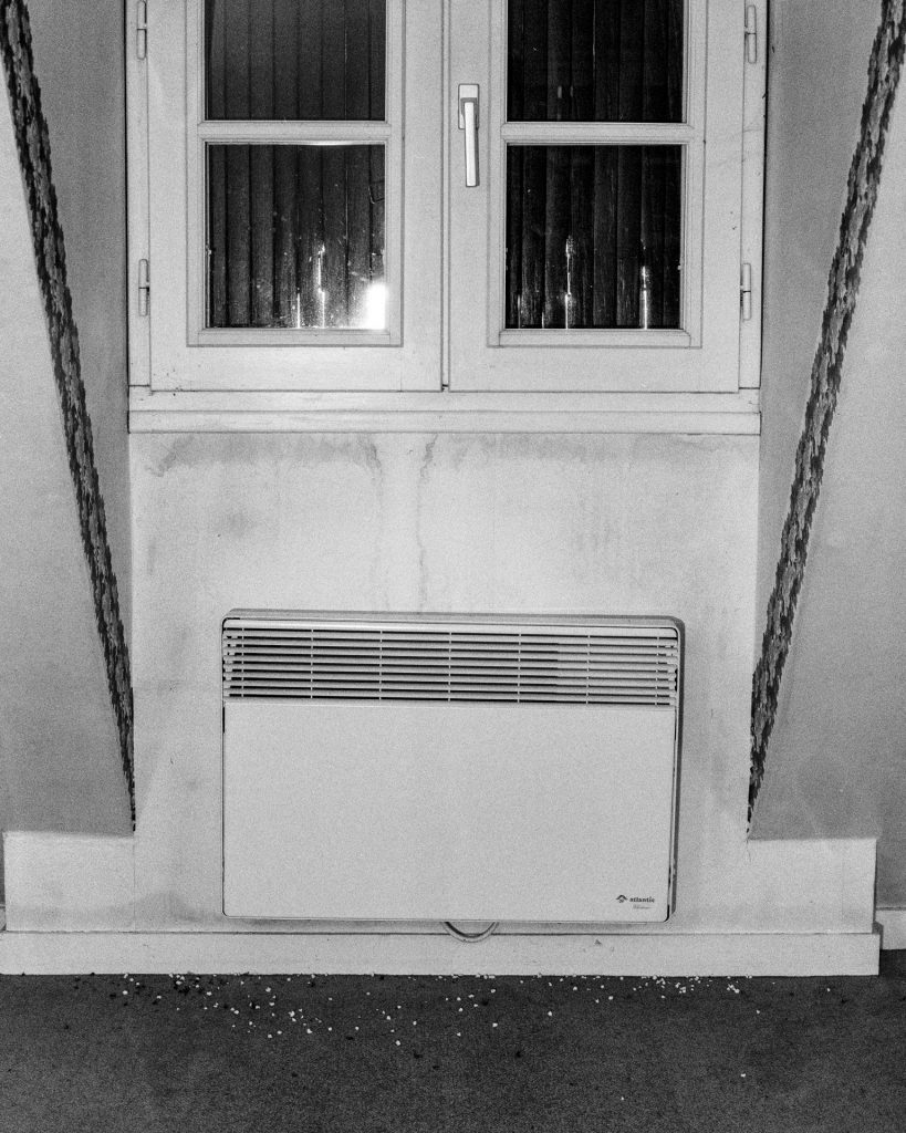 Closed window and radiator