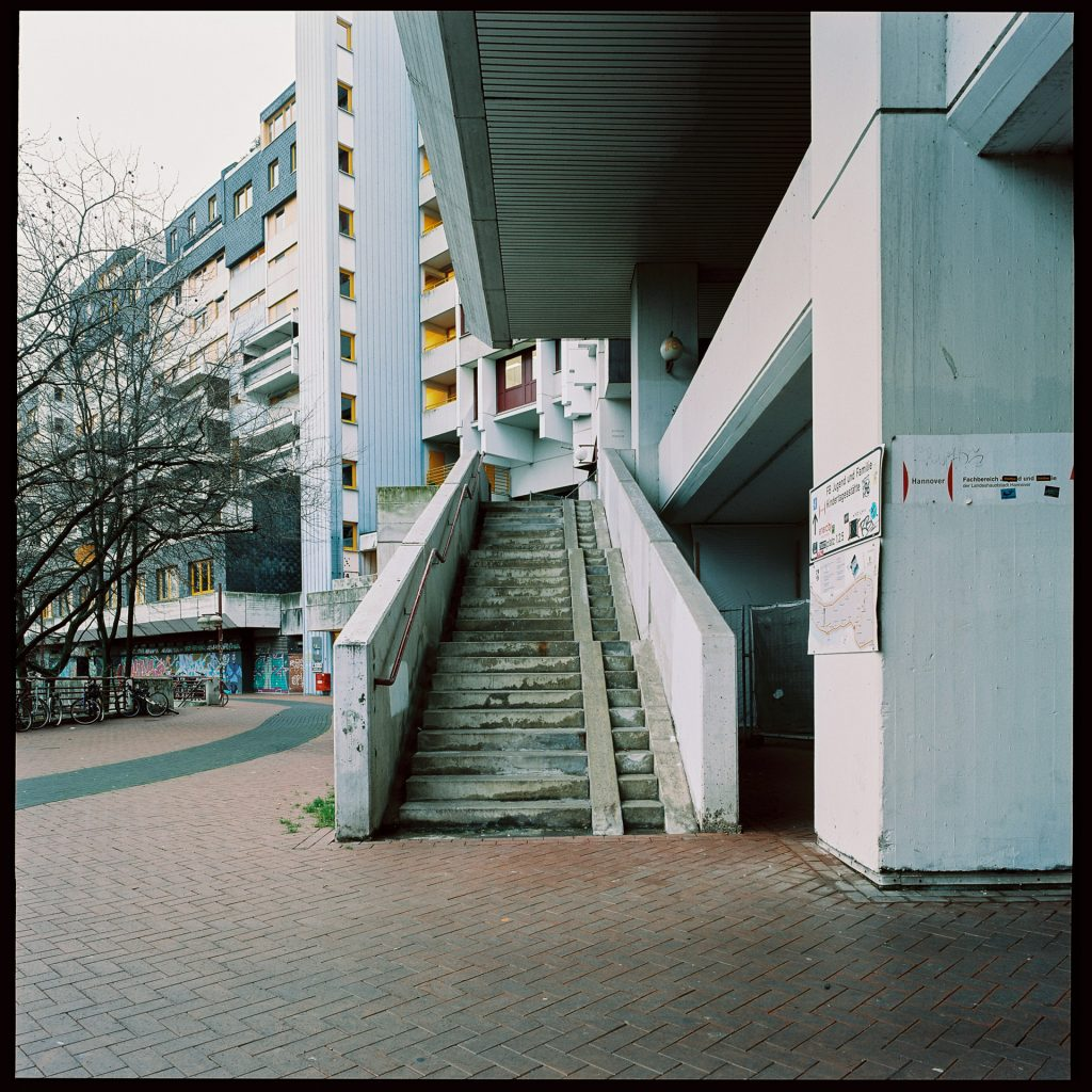 Stairs at the Ihme-Zentrum, shot on expired film