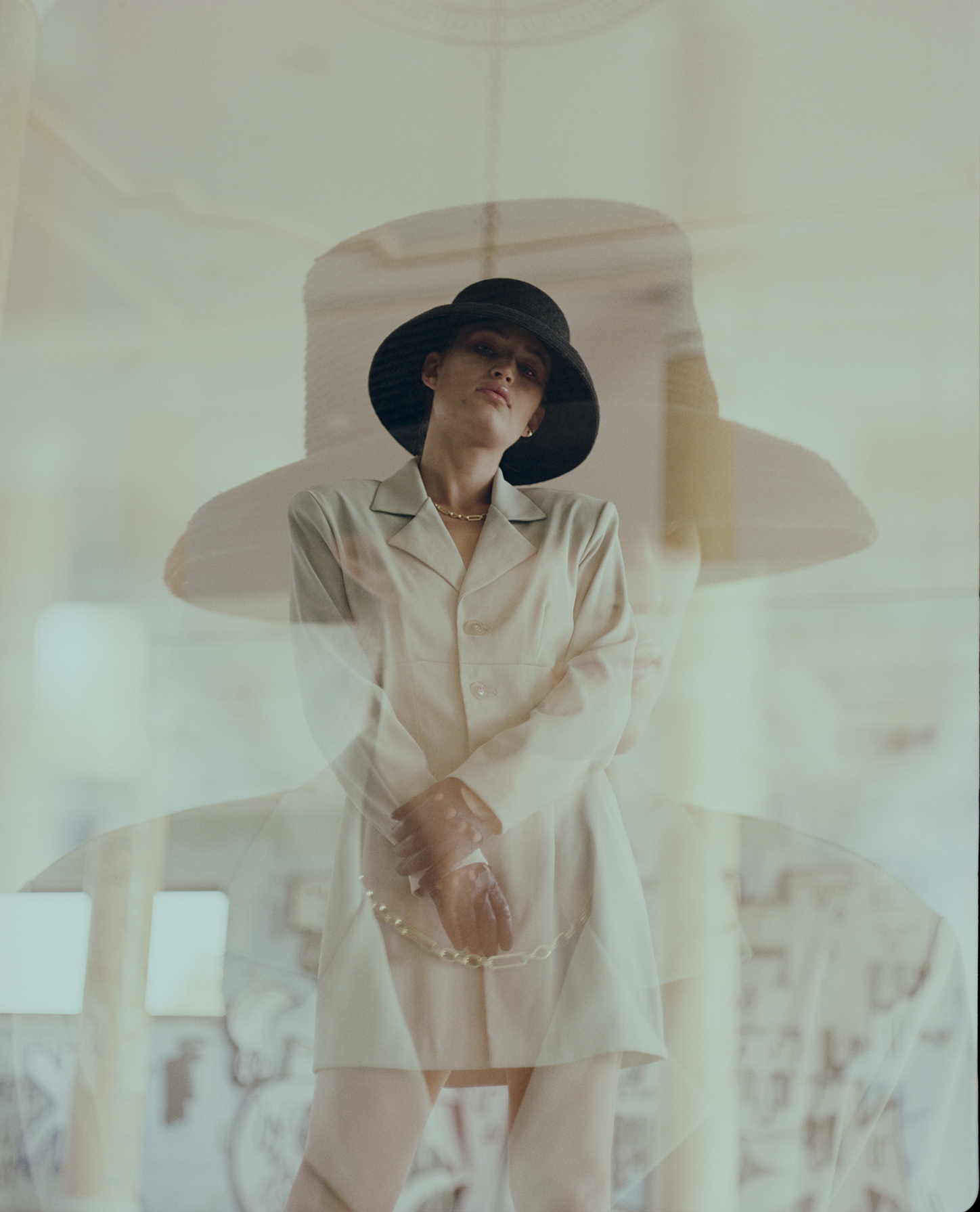Vintage store photoshoot, medium format portrait in color, double exposure