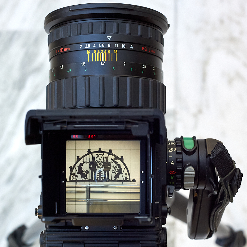 The f/2 110mm Zeiss Planar mounted