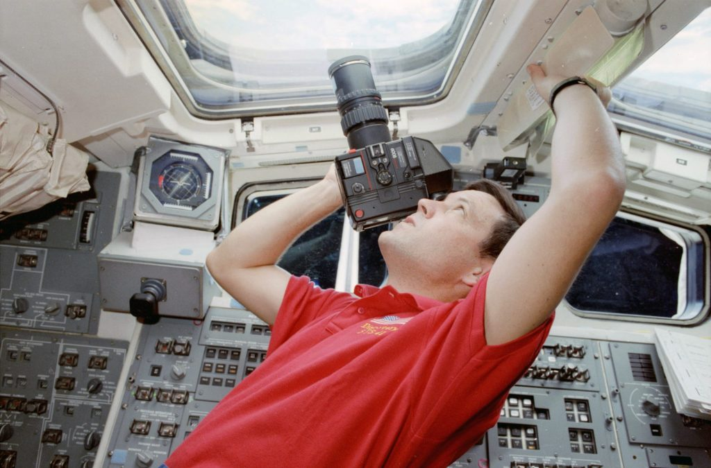 Rolleiflex 6008 with 250mm Sonnar and 90-degree prism finders on a Space Shuttle mission