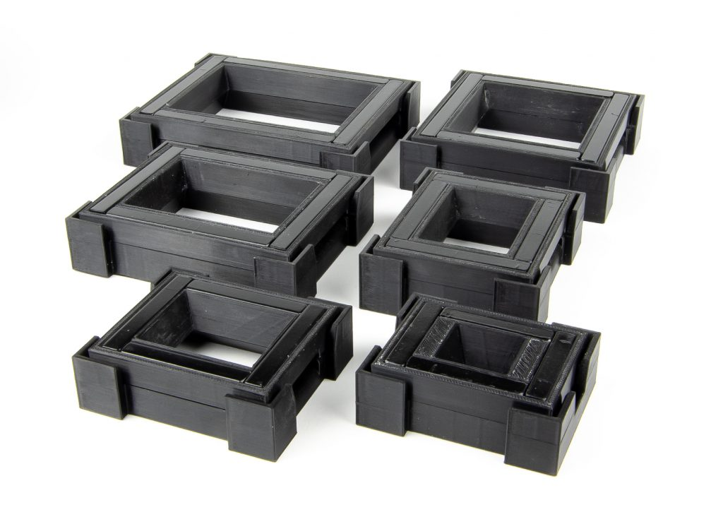 Six different sizes of 3D printed film holders