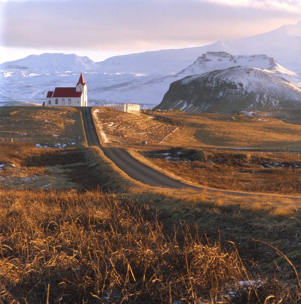 Golden winter light in iceland