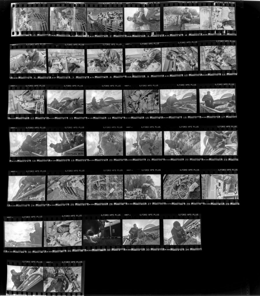 Contact sheet demonstrating thought process and methods on the day