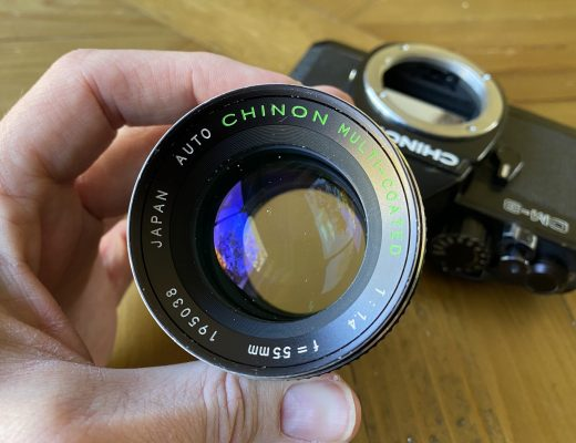 Chinon 55mm f/1.4 front element