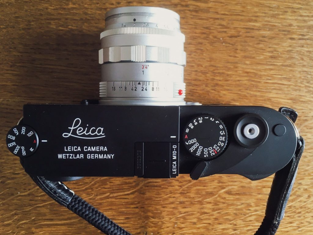 Top side of Leica M10-D with the wind-on-lever