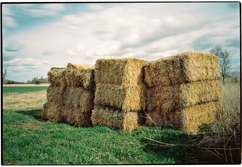 Four blocks of straw bales standing at the side of a meadow. The sky appears smeared due to the long exposure, emphasizing the condensing time idea.