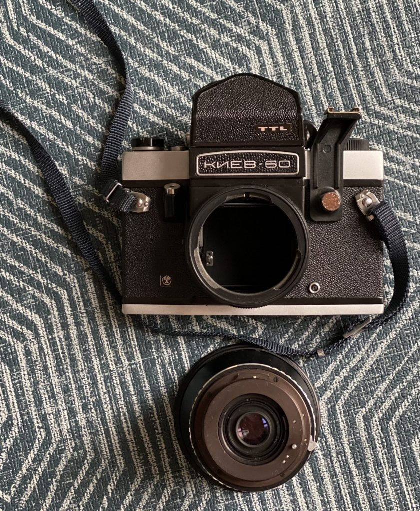 The Kiev 60 SLR camera with lens unmounted showing the mount (as well as massive mirror box)