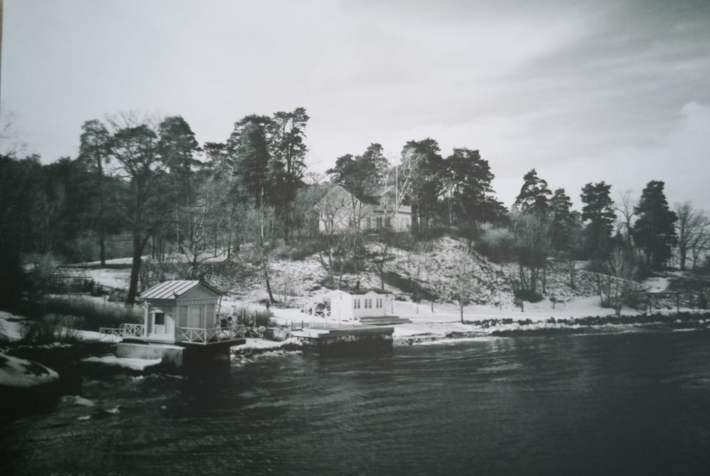 Island Cabins - Taken with a Minolta Hi-Matic G and Ilford XP-2 Film