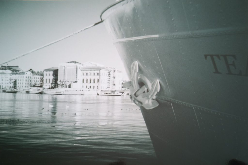Boat in Harbour - Taken with a Minolta Hi-Matic G and Ilford XP-2 Film
