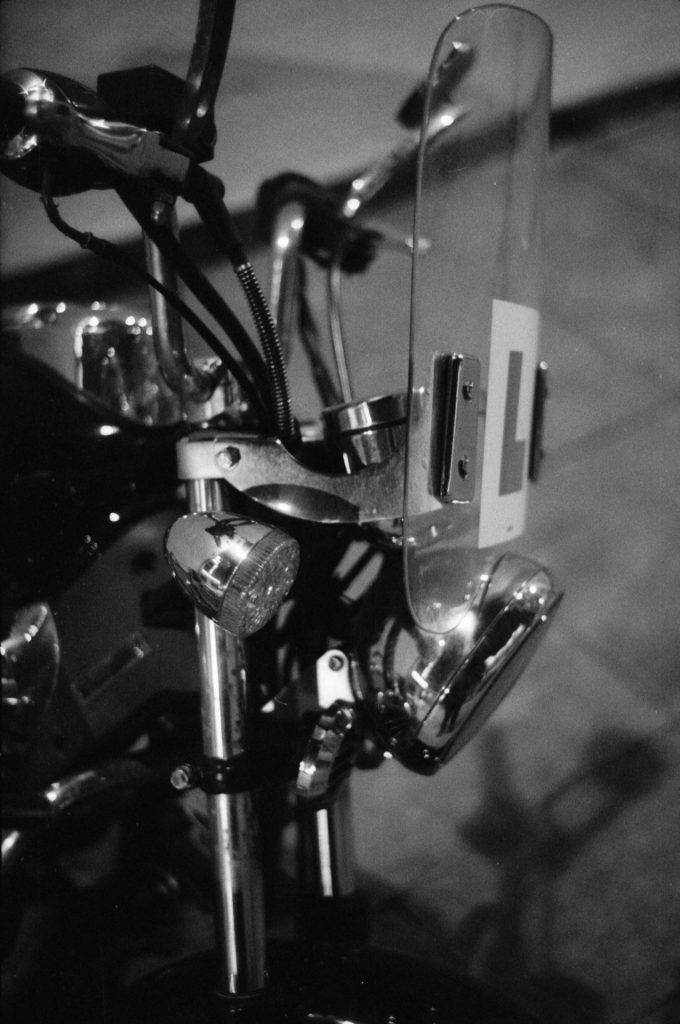 The front of a motorbike.