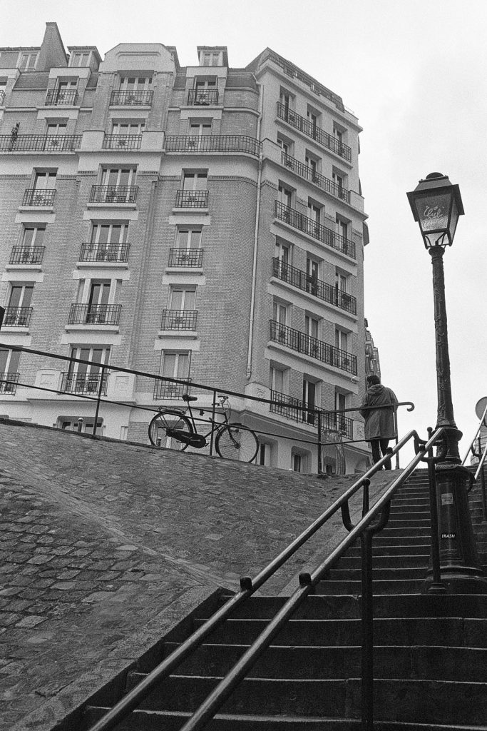 Stairs in Paris with a building