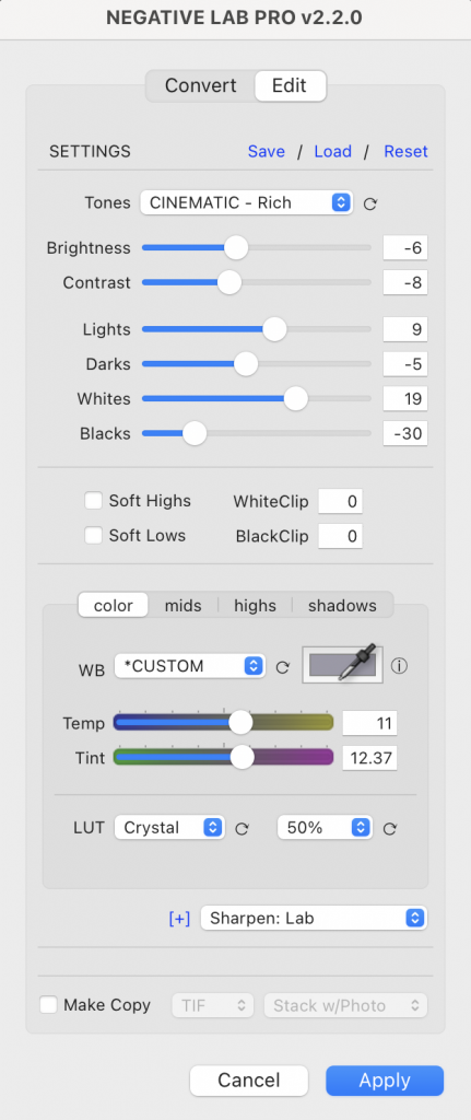 Sample NLP settings for a high contrast/high saturation image