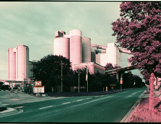 Cement works in Höver near Hannover, Germany, captured on Lomography Purple film.