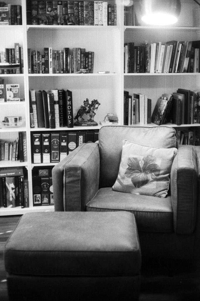 chair and lamp with bookshelves